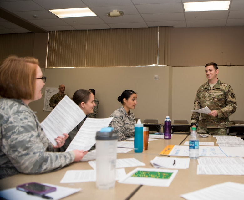 1st Lt. Race Southworth, 673d Comptroller Squadron flight commander, talks to the group during the first Flight Leaders Course at Joint Base Elmendorf-Richardson, Alaska, May 10, 2019. The course is to help develop exceptional flight leaders who will strengthen their squadron by leading, developing, managing, and communicating with competence and confidence while executing the mission. (U.S. Air Force photo by Airman 1st Class Johnathan Valdes Montijo)