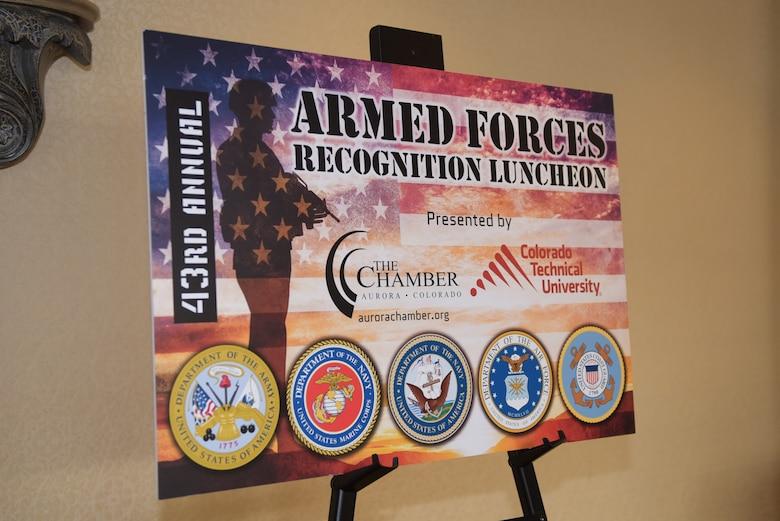 The Aurora Chamber hosts the Armed Forces Recognition Luncheon at the Doubletree by Hilton in Denver, Colorado, May 10, 2019.