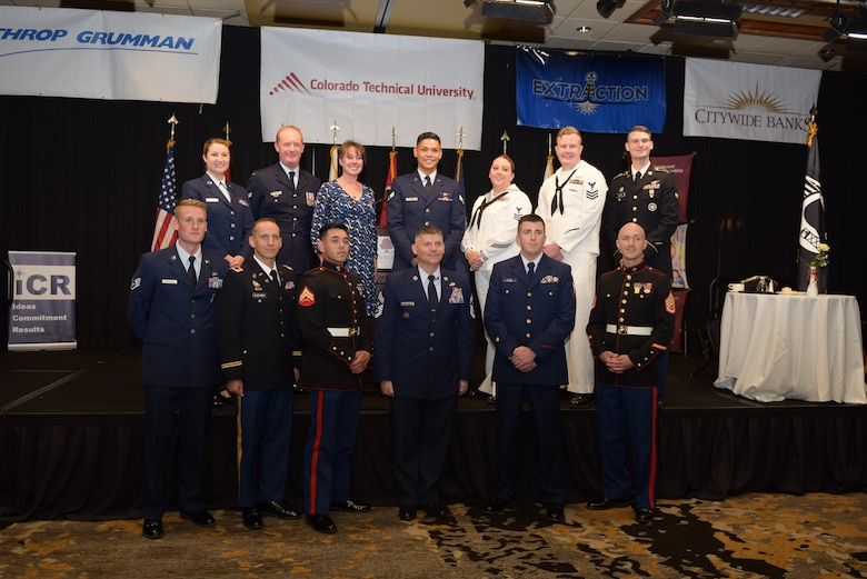 The award winners recognized during the Armed Forces Recognition Luncheon pose for a photo at the Doubletree by Hilton in Denver, Colorado, May 10, 2019.