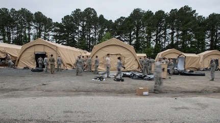 The Global Response Force team checks their tents, May 6, 2019 at Joint Base Langley-Eustis, Virginia.