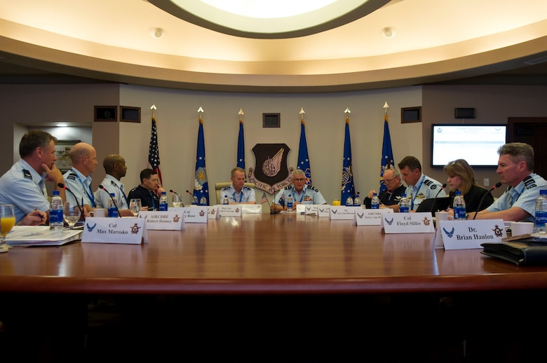 U.S. Air Force and Royal Australian Air Force service members listen to opening remarks during the Air Senior National Representatives forum at Headquarters Pacific Air Forces, Joint Base Pearl Harbor-Hickam, Hawaii, May 8, 2019.