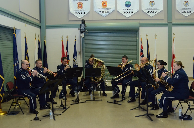 The Air National Guard's Band of the Southwest provided prelude music as well as the National Anthem and Air Force song for the Tenth Air Force Change of Command held at Naval Air Station Fort Worth Joint Reserve Base, Texas on May 10.