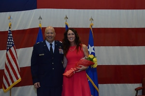 Maj. Gen. Brian K. Borgen poses for a picture with his wife, Mary after the Tenth Air Force Change of Command ceremony May 10 at Naval Air Station Fort Worth Joint Reserve Base, Texas.