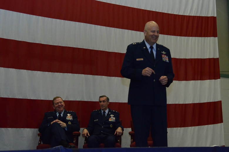 For the first time as Commander, Tenth Air Force, Maj. Gen. Brian Borgen address the men and women of Tenth Air Force during the Change of Command ceremony May 10, at Naval Air Station Fort Worth Joint Reserve Base, Texas.