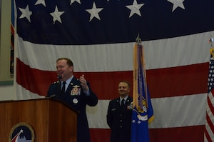 During the Tenth Air Force Change of Command ceremony, Lt. Gen. Richard Scobee addresses the audience, discussing the accolades of Maj. Gen. Miller as the Tenth Air Force Commander, and Maj. Gen. Borgen as he awaits his opportunity to lead Tenth Air Force, May 10 at Naval Air Station Fort Worth Joint Reserve Base, Texas.