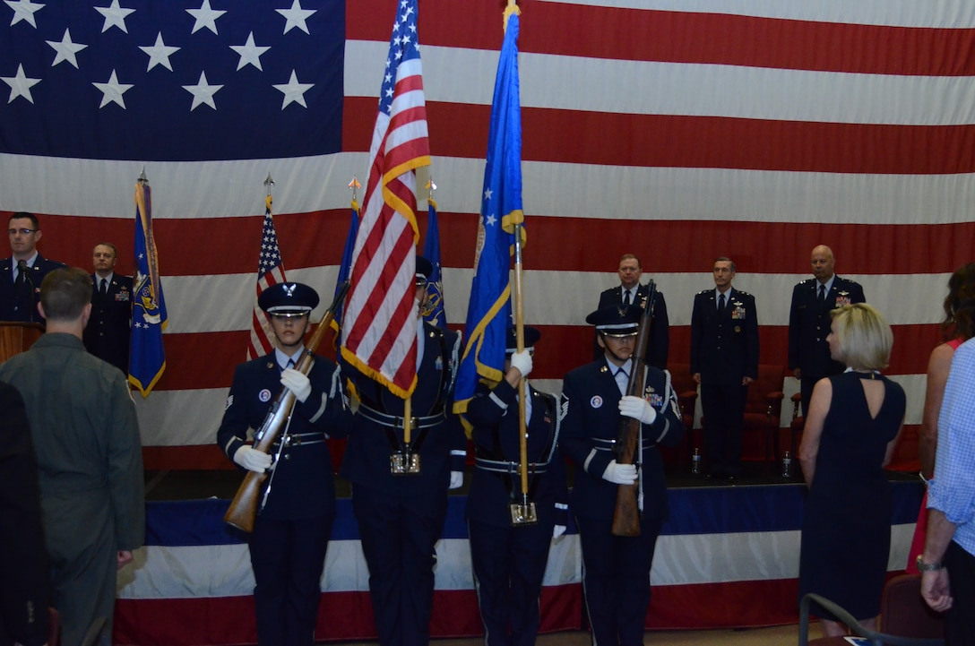 As part of the Tenth Air Force Change of Command ceremony, the 301st Fighter Wing color Guard presents the colors May 10 at Naval Air Station Fort Worth Joint Reserve Base, Texas.