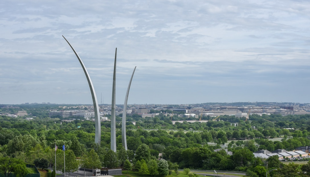 An aerial view of the Air Force Memorial is seen from a UH-1 Huey as members of the 1st Helicopter Squadron fly over Washington D.C. during opening ceremonies of the Joint Base Andrews Air & Space Expo, May 10. (U.S. Air Force photo by 2nd Lt. Jessica Cicchetto)