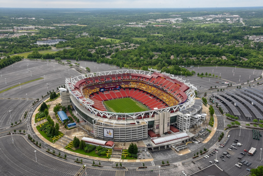 An aerial view of FedEx Field is seen from a UH-1 Huey as members of the 1st Helicopter Squadron fly over Washington D.C. during opening ceremonies of the Joint Base Andrews Air & Space Expo, May 10. (U.S. Air Force photo by 2nd Lt. Jessica Cicchetto)