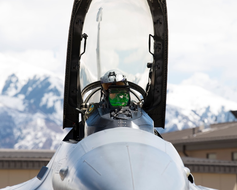 An F-16 Viper pilot from the 311th Fighter Squadron prepares for flight, April 30, 2019, on Hill Air Force Base, Utah. Between April 22 and May 3, the 311th FS conducted 174 sorties in support of student pilot training and dissimilar air combat training with the F-35 Lightning II. (U.S. Air Force photo by Staff Sgt. BreeAnn Sachs)