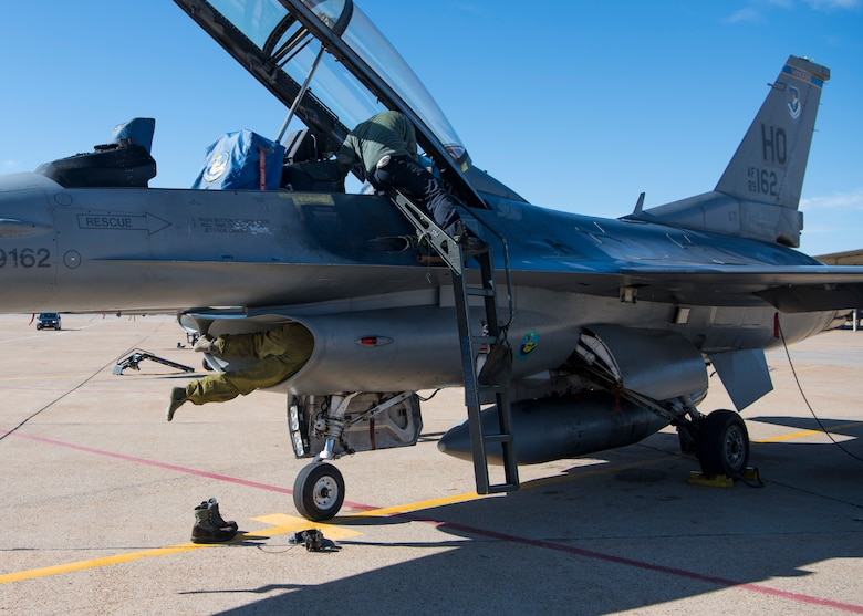 Fighter Squadron F-16 Viper, April 30, 2019, on Hill Air Force Base, Utah. The intake is inspected after each flight to ensure there was no damage to the engine and flight instruments during flight. (U.S. Air Force photo by Staff Sgt. BreeAnn Sachs)