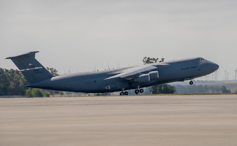 A U.S. Air Force C-5M Super Galaxy takes off during a readiness exercise at Travis Air Force Base, California, May 9, 2019. The base conducted a week-long exercise that evaluated Travis' readiness and ability to execute and sustain rapid global mobility around the world. (U.S. Air Force photo by Heide Couch)