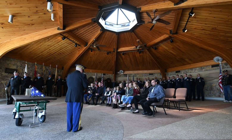 Former Pfc. Carroll E. Lonas, was laid to rest at the Black Hills National Cemetery in Sturgis, S.D., May 9, 2019.  Lonas, 94, had served as a rifleman with the U.S. Army National Guard's 45th Infantry Division during World War II. Lonas was captured by the Germans and detained for fourteen months, where, at one point, he was put in front of a firing line to be executed. He was spared when an allied forces firing plane flew by. Ultimately, he escaped to friendly territory after hiking approximately 1,100 miles. (U.S. Air Force photo by Airman 1st Class Christina Bennett)