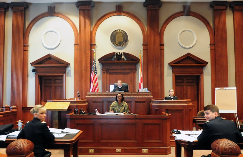 Alabama National Guard Trial Defense Service and 167th Judge Advocate General's Corps section culminated yearlong training exercise, August 7–8, 2018, at Calhoun County Courthouse, Anniston, Alabama, with mock trial, going through entire legal process that Uniformed Code of Military Justice would require (U.S. Army National Guard/Katherine Dowd)
