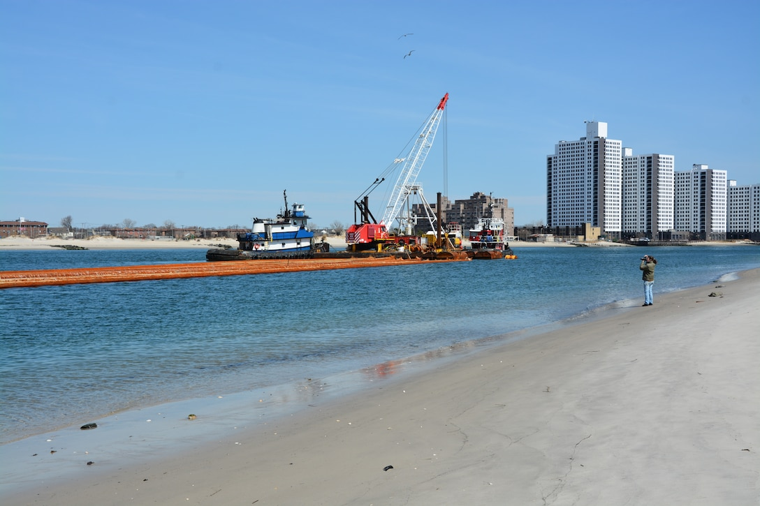 Weeks Marine mobilize for the East Rockaway Inlet Dredging Project.