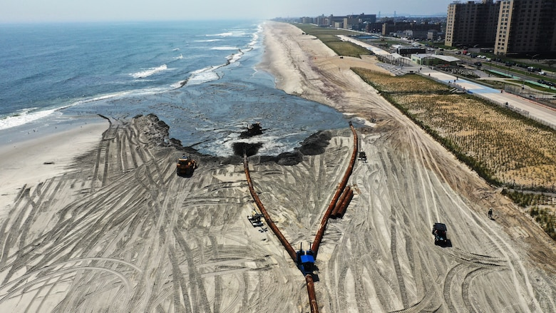 Sky shot of ongoing East Rockaway Inlet Dredging Project