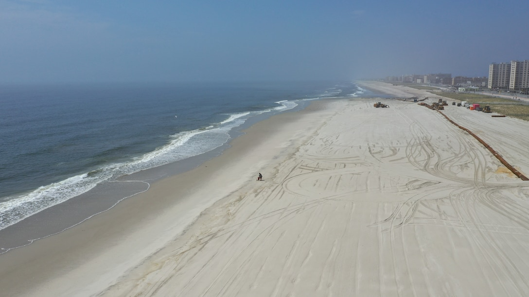 Sky shot of close to finished East Rockaway Inlet Dredging and Beach Restoration Project.