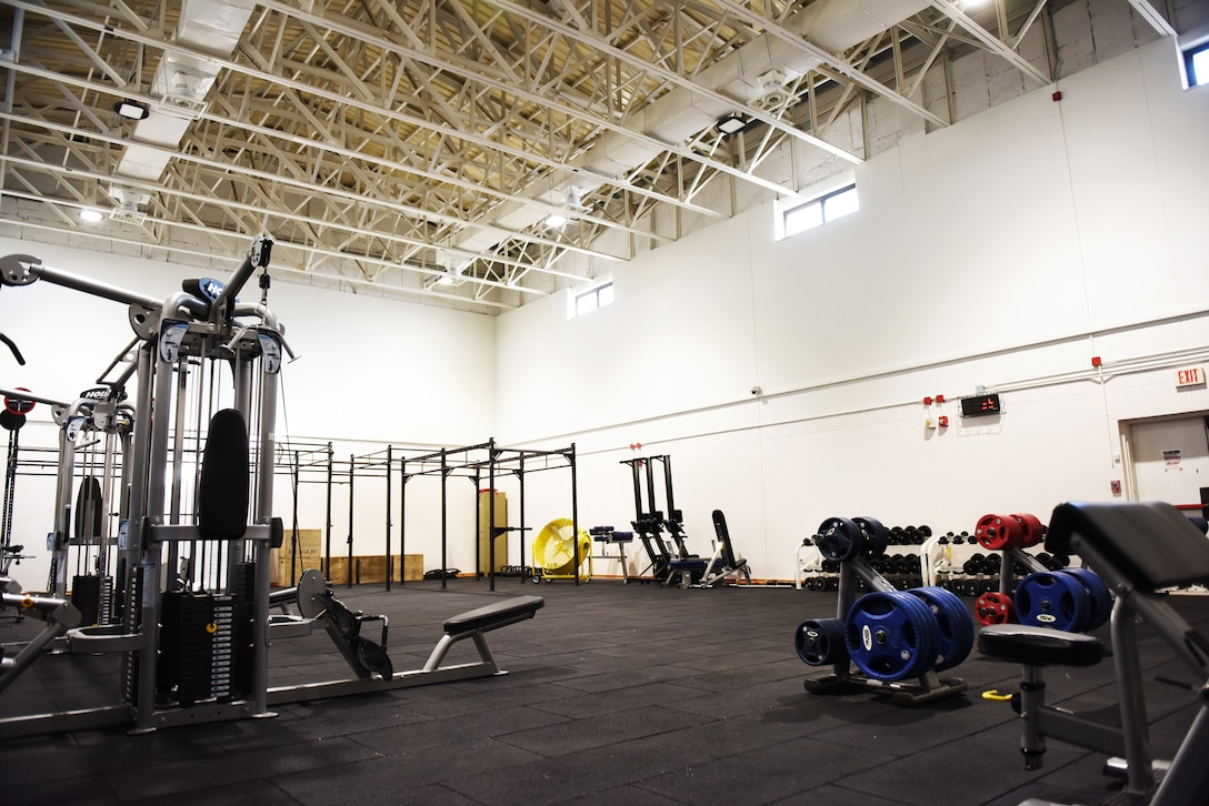 After undergoing a 47-day renovation, the Larger than Life Fitness Center weight room reopens for use on May 15, 2019, at Incirlik Air Base, Turkey. The gym features a combination of free weights, dumbbells, cardio equipment, exercise benches, heavy ropes, and other equipment associated with physical training. (U.S. Air Force photo by Senior Airman Joshua Magbanua)