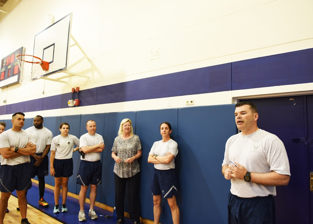 Col. Brian Filler, 39th Air Base Wing vice commander, gives opening remarks during the ribbon-cutting ceremony of the Larger than Life Fitness Center on May 15, 2019, at Incirlik Air Base, Turkey. The fitness center was renovated to allow Airmen the ability to sharpen their individual physical readiness and meet the Air Force's new Tier 2 training requirements. Tier 2 physical fitness standards require battlefield Airmen to meet specific physical standards tailored toward the demands of their career fields and missions. (U.S. Air Force photo by Senior Airman Joshua Magbanua)