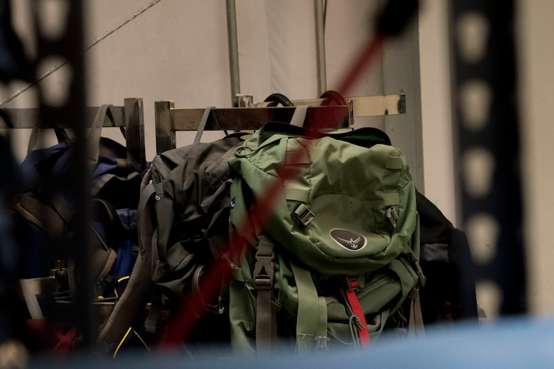 Backpacks owned by the 50th FSS outdoor recreation. Backpacks and other camping supplies are available for rental through outdoor recreation. (U.S. Air Force photo by Airman Jonathan Whitely)