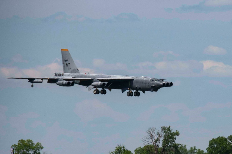 "A B-52 Stratofortress, nicknamed ""Wise Guy,"" makes its final approach to Barksdale Air Force Base, Louisiana, May 14, 2019.  The bomber was flown out of the 309th Aerospace Maintenance and Regeneration Group, also known as the ""Boneyard"", where it had been since 2008.  (U.S. Air Force photo by Master Sgt. Ted Daigle)"