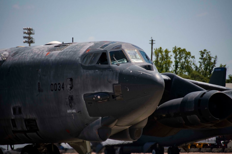 "A B-52 Stratofortress, nicknamed ""Wise Guy,"" taxis into Barksdale Air Force Base, Louisiana, May 14, 2019.  The jet had been sitting at the 309th Aerospace Maintenance and Regeneration Group at Davis-Monthan AFB, Arizona since 2008. It is being returned to service to replace a B-52 lost during takeoff in 2016. (U.S. Air Force photo by Master Sgt. Ted Daigle)"