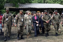 Representatives of the Dominican Republic and U.S. Army South meet at media day of Fuerzas Aliadas Humanitarias 2019.