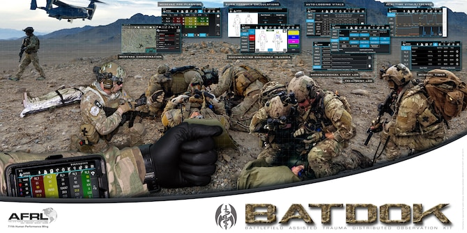 The Battlefield Assisted Trauma Distributed Observation Kit, or BATDOK, is software that runs on a smartphone or mobile device that can collect real-time patient information from a variety of sensors at the point of injury. The software makes it easier for the deployed medic to document vitals, help administer critical care, integrate patient data, and identify exact location of casualties in austere combat environments. (U.S. Air Force graphic)