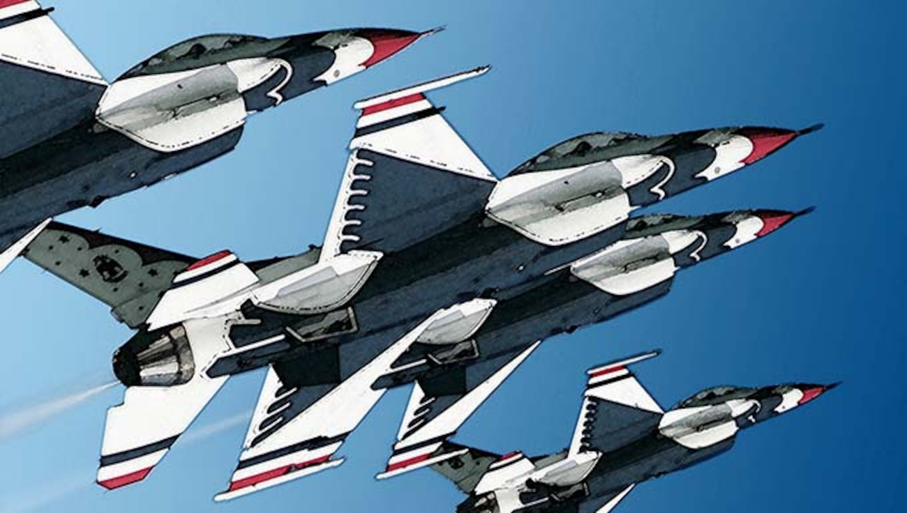 Illustration of the Air Force Thunderbirds flying in formation.