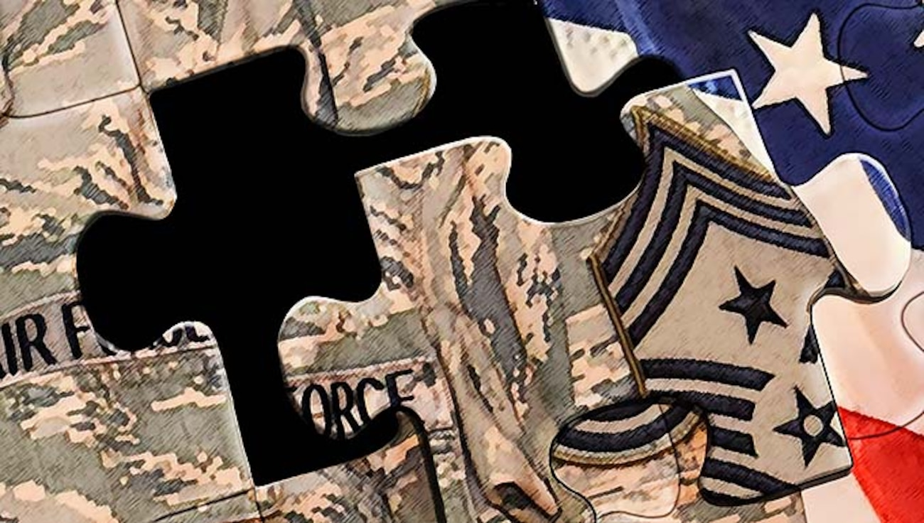 Illustration depicting puzzle pieces of a uniform and US flag.