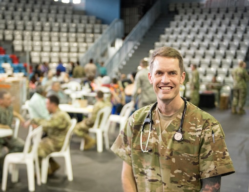 U.S. Air Force Capt. Chad Macheel, a medical provider with the 133rd Medical Group, poses for a photo in Lares, Puerto Rico, April 30, 2019.