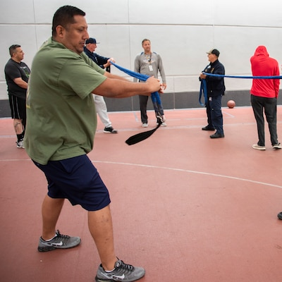 Joint Base San Antonio firefighters spent the morning with wounded service members at the Center for the Intrepid at Joint Base San Antonio-Fort Sam Houston participating in physical fitness and sports activities May 10. This is the ninth year the firefighters have organized the annual event to show their appreciation for the service and sacrifices the military members have made to our nation. After the sporting events, the firefighters prepared a barbecue lunch for the warriors and CFI