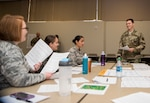 1st Lt. Race Southworth, 673d Comptroller Squadron flight commander, talks to the group during the first Flight Leaders Course at Joint Base Elmendorf-Richardson, Alaska, May 10, 2019. The course is to help develop exceptional flight leaders who will strengthen their squadron by leading, developing, managing, and communicating with competence and confidence while executing the mission.