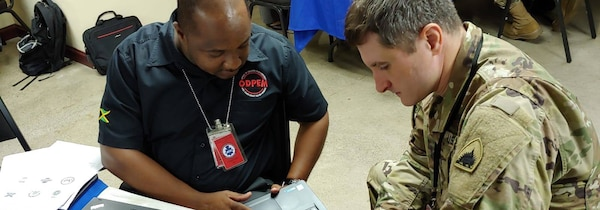 Soldiers and Airmen from the District of Columbia National Guard (DCNG) arrived in Kingston, Jamaica today to participate in a humanitarian assistance and disaster response table top event with the Jamaica Defense Force (JDF) and Office of Disaster Preparedness and Emergency Management (ODPEM), as part of the National Guard Bureau's State Partnership Program (SPP).