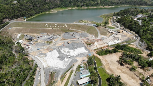 aerial image of Guajataca dam and spillway in Isabela, Puerto Rico.