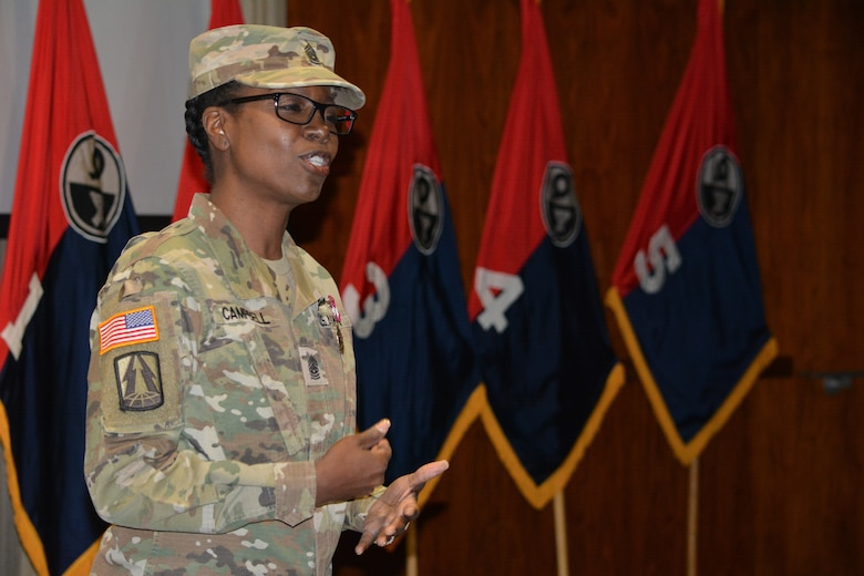 Command Sgt. Maj. Sharon Campbell, outgoing 94th Training Division-Force Sustainment outgoing command sergeant major, gives remarks after relinquishing responsibility of the 94th TD-FS during the unit's change of responsibility ceremony at Fort Lee's Army Logistics University Bunker Hall. The ceremony bid farewell to Campbell on Mar. 10, 2019 after her tenure as at the 94th TD-FS command sergeant major and retirement from the Army after 38-years of service to her country, welcoming Command Sgt. Maj. Anthony Simpson as the new unit command sergeant major. (Photo by Maj. Ebony Gay, 94th TD-FS Public Affairs Office)