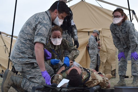 Airmen from the 86th Medical Group, Ramstein Air Base, Germany, participate in a multinational medical exercise drill during Vigorous Warrior 19, Cincu Military Base, Romania, April 8, 2019. Vigorous Warrior 19 is NATO's largest-ever military medical exercise, uniting more than 2,500 participants from 39 countries to exercise experimental doctrinal concepts and test their medical assets together in a dynamic, multinational environment. (U.S. Air Force photo by 1st Lt. Andrew Layton)