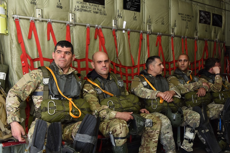 Hellenic army paratroopers sit aboard a U.S. Air Force C-130J Super Hercules during exercise Stolen Cerberus VI, May 9, 2019, at Elefsis Air Base, Greece. Stolen Cerberus is an annual bilateral training event with the Hellenic air force designed to enhance interoperability and airlift capabilities through realistic joint air operations training, including aeromedical evacuation operations and airlift and airdrop capabilities.