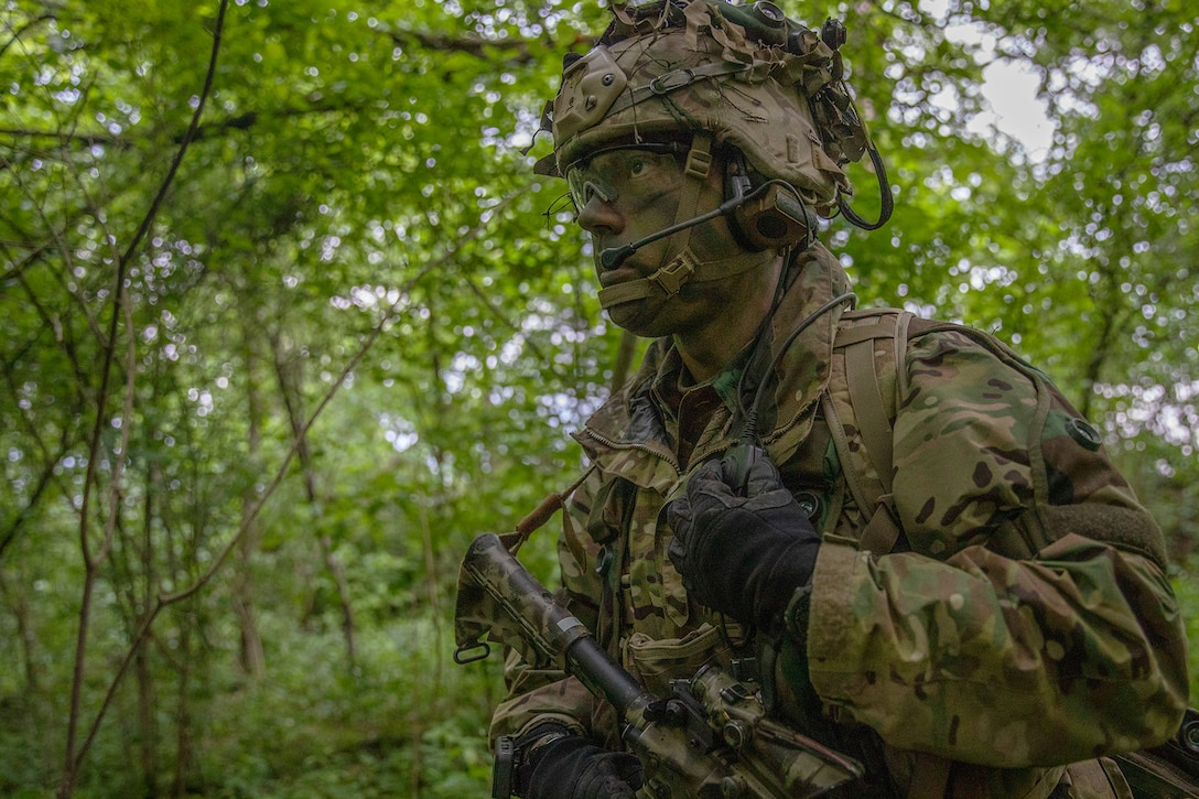 Army Sgt. 1st Class Cody Francis of 1st Squadron, 91st Cavalry Regiment, 173rd Airborne Brigade retrieves radio transmission during fire movement training at Cerklje ob Krki air base, Slovenia, May 14, 2019. Exercise Immediate Response is a multinational exercise co-led by Croatian armed forces, Slovenian armed forces, and U.S. Army Europe. The logistics-focused exercise is designed to test and improve the ability to move forces and equipment rapidly from one location to another. The exercise will improve readiness and interoperability among participating allied and partner nations, officials said.