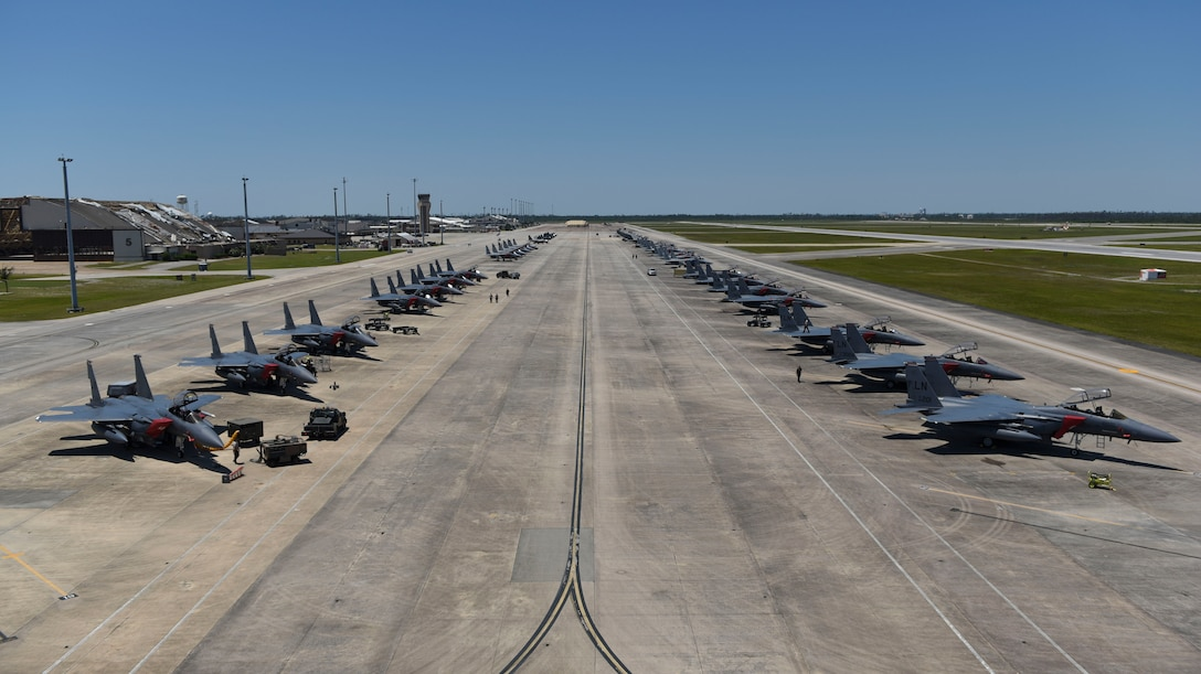 Aircraft assigned to the 494th Fighter Squadron, the 67th Fighter Squadron and the 94th Fighter Squadron, park on the flightline at Tyndall Air Force Base, Florida, May 15, 2019.