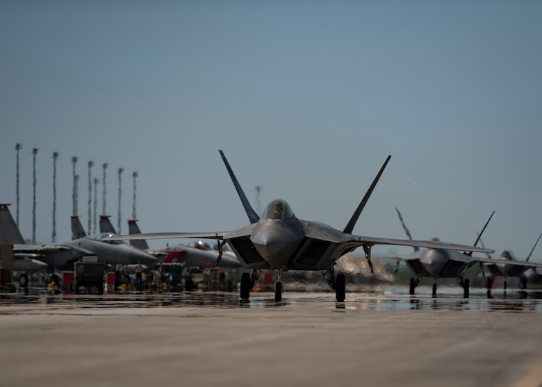An F-22 Raptor taxis on the flightline during the Combat Archer 19-8 exercise at Tyndall Air Force Base, Florida, May 14, 2019.