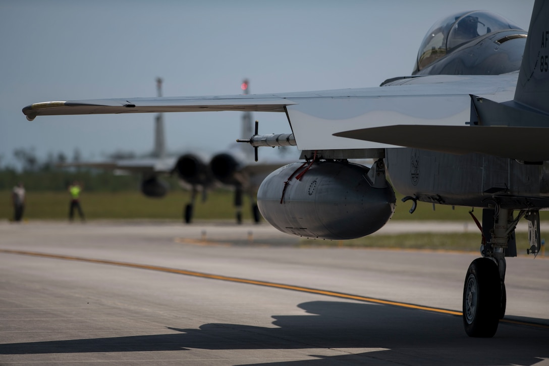 An F-15E Strike Eagle taxis the flightline during the Combat Archer 19-8 exercise at Tyndall Air Force Base, Florida, May 14, 2019.