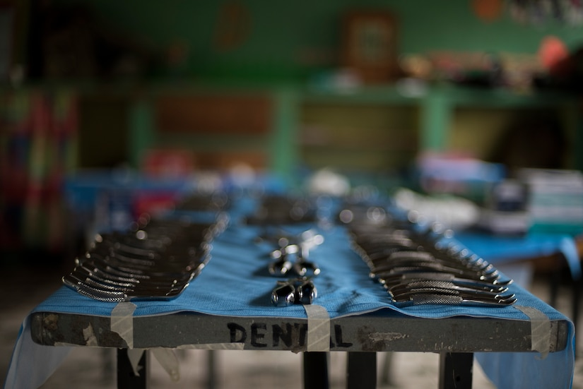 Dental instruments are prepared and setup before a Medical Readiness Training Exercise (MEDRETE), May 10, 2019, in El Paraiso, Honduras. Members of JTF-B partnered with the Honduran Military and Ministry of Health to provide health care services for more than 1,300 Honduran citizens; reaching a third of the citizens in the towns of Argelia, Santa Maria and Las Dificultades in the El Paraiso Department. The goal of the mission was to provide the medical staff training in their areas of expertise as well as strengthen partnerships with the Honduran allies. (U.S. Air Force photo by Staff Sgt. Eric Summers Jr.)