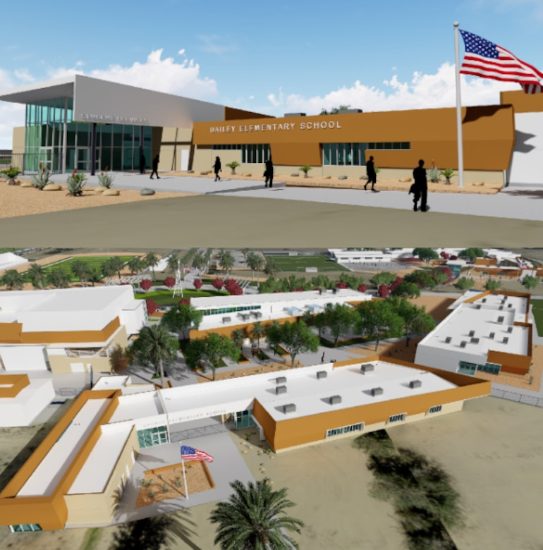 Artist renderings preview the proposed look for Branch and Bailey Elementary Schools on Edwards Air Force Base, Calif. The Muroc Joint Unified School District broke ground during a ceremony here, May 13. The project is set to be completed in around two years. (Photo composite courtesty of MJUSD)