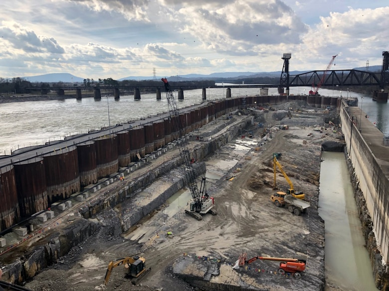 Crews prepare the rock foundation Jan. 8, 2019 for future concrete placement at the Chickamauga Lock Replacement Project on the Tennessee River in Chattanooga, Tenn. (USACE photo by Capt. William Keenan)