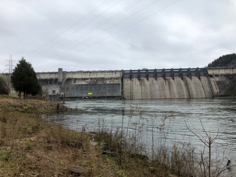 Wolf Creek Dam Power Plant on the Cumberland River in Jamestown, Ky., generates power Jan. 18, 2019. The U.S. Army Corps of Engineers Nashville District operates and maintains the project on the Cumberland River. (USACE photo by Capt. William Keenan)