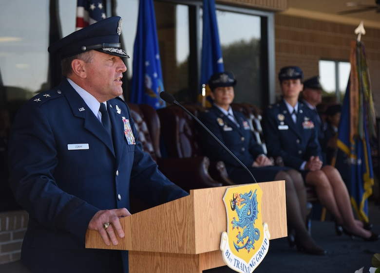 U.S. Air Force Maj. Gen. Timothy Leahy, Second Air Force commander, delivers remarks during the 81st Training Wing change of command ceremony on the Levitow Training Support Facility drill pad at Keesler Air Force Base, Mississippi, May 16, 2019. Col. Debra Lovette, relinquished command of the 81st TRW to Col. Heather Blackwell. (U.S. Air Force photo by Kemberly Groue)