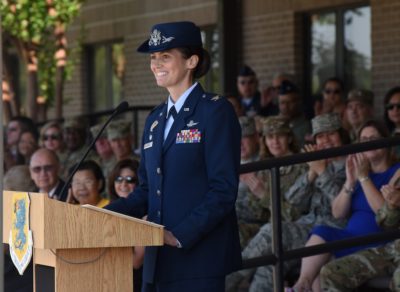 U.S. Air Force Col. Heather Blackwell, 81st Training Wing commander, addresses her new command during a change of command ceremony on the Levitow Training Support Facility drill pad at Keesler Air Force Base, Mississippi, May 16, 2019. Blackwell assumed command from Col. Debra Lovette. (U.S. Air Force photo by Kemberly Groue)
