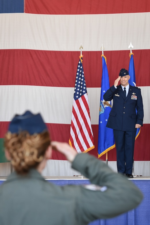 Amidst displays of the full airpower arsenal of the 944th Fighter Wing, Col. Bryan E. Cook, 944th FW outgoing commander, relinquished command to Col. James Greenwald, 944th FW incoming commander, during a change of command ceremony here, May 4, 2019.