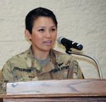 2nd Lt. Trang Jorgenson outlines her journey from child immigrant to trailblazing infantry officer during the Rock Island Arsenal Asian American Pacific Islander Heritage Month observance.