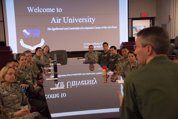Major Gen. Michael Rothstein, Air University vice commander and commander Curtis E. LeMay Center for Doctrine Development and Education, welcomes recently selected Air University Fellows at the start of a briefing about the program, April 17, 2019, Maxwell Air Force Base, Alabama. Under the AU Fellows Program, high-performing officers earn the opportunity to serve as faculty members before entering or after completing in-resident Air Command and Staff College.